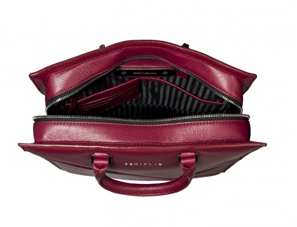 leather business bag woman berry inside