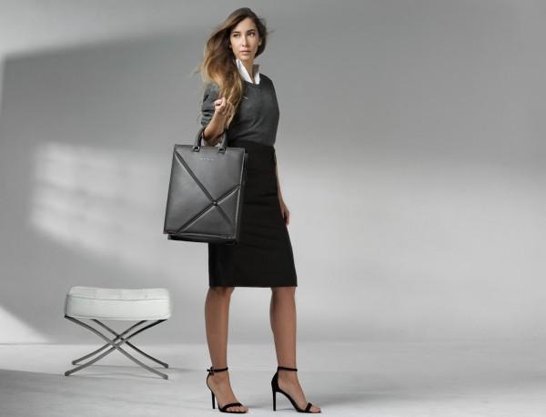 borsa da lavoro in pelle donna grigia lifestyle