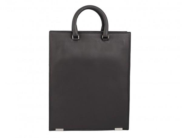 borsa da lavoro in pelle donna grigia back