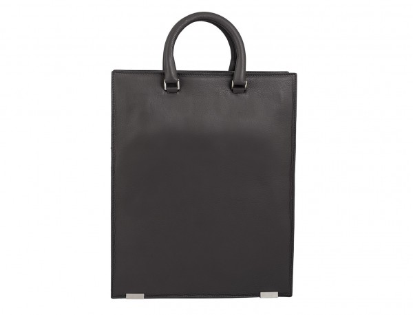 leather business bag woman gray back