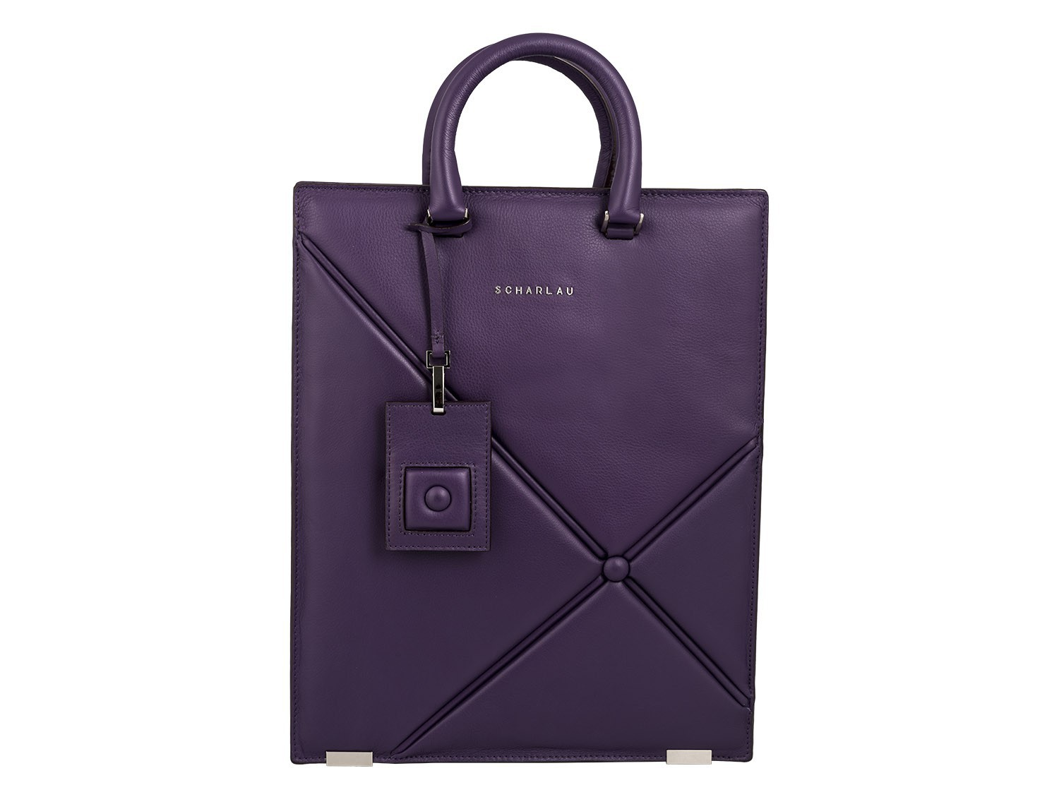 leather business bag woman violet front