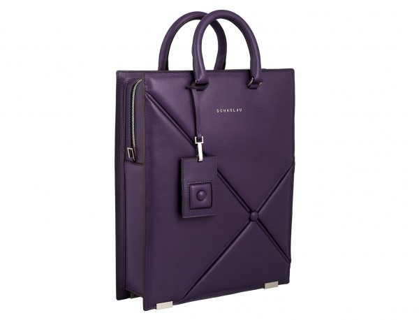leather business bag woman violet side