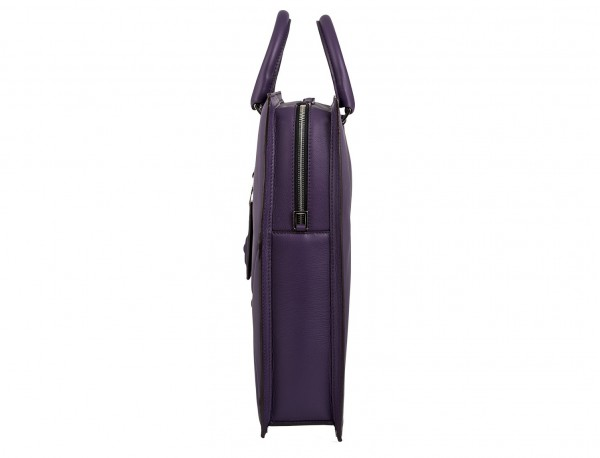borsa da lavoro in pelle donna viola side detail