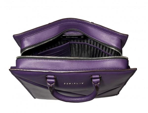 bolso para portátil de mujer lila abierto