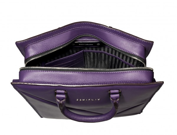 leather business bag woman violet plate