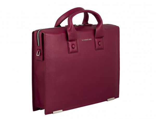 leather briefbag berry for women side