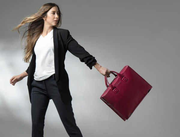 leather briefbag berry for women lifestyle
