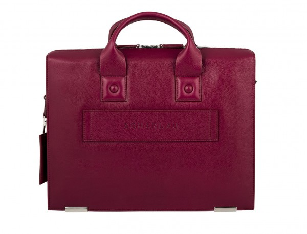 leather briefbag berry for women back