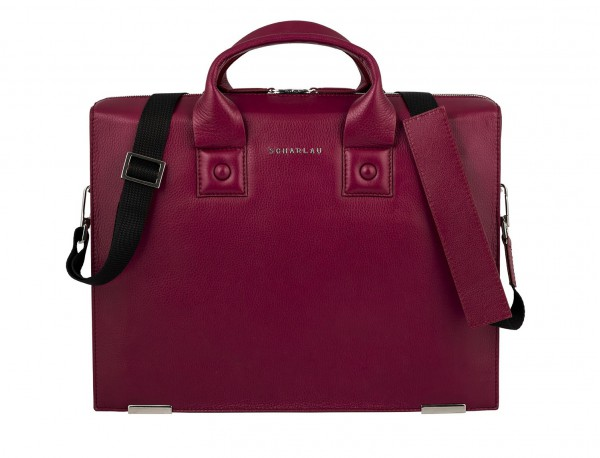 leather briefbag berry for women laptop bag