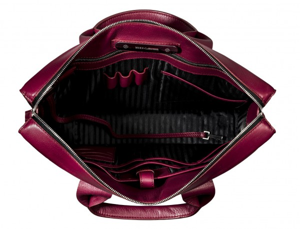 leather briefbag berry for women inside