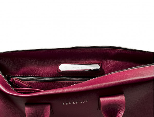 leather briefbag berry for women personalized