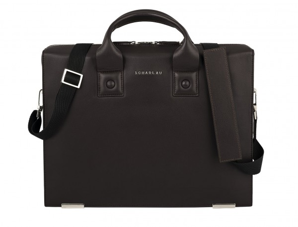 leather briefbag for men brown  front