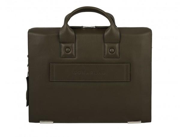 leather briefbag green for men back