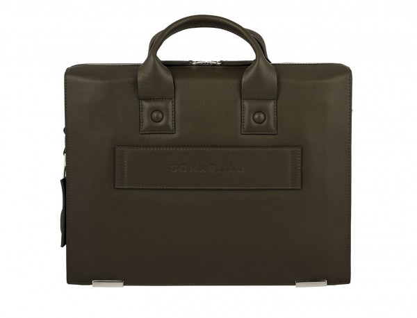 maletín verde oliva de cuero portadocumentos de hombre de piel