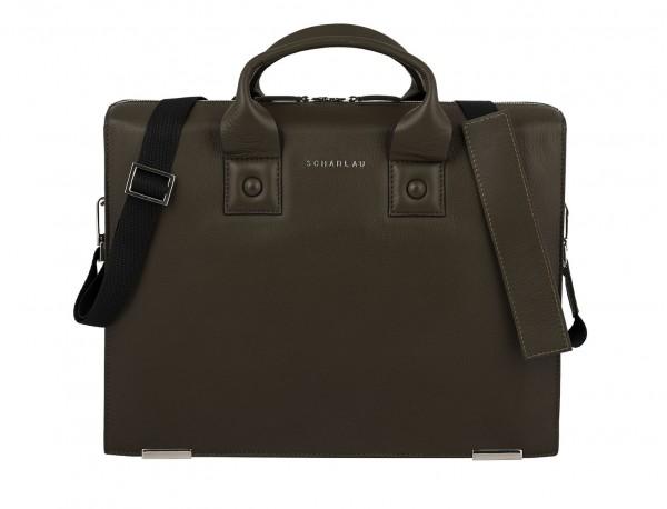 leather briefbag green for men front
