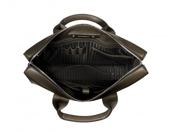 leather briefbag green for men open