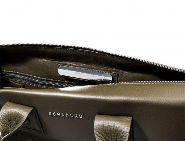 maletín verde oliva de cuero portadocumentos de hombre de piel placa