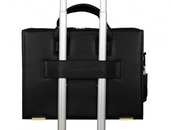 leather briefbag black for men trolley