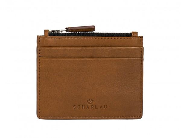 leather card holder camel front