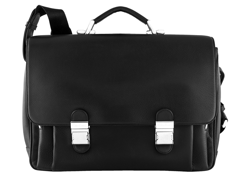 leather briefbag in black for men front