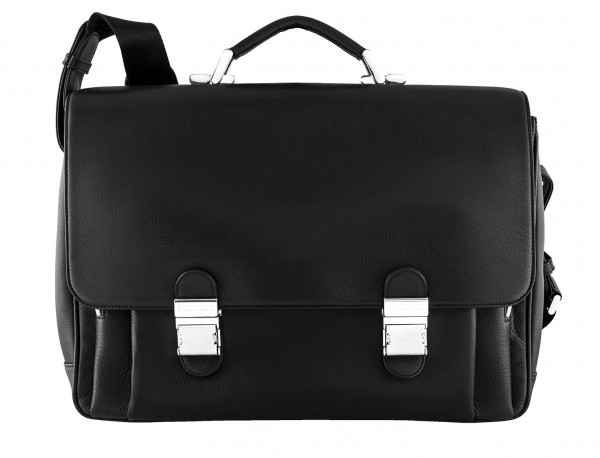 maletin con solapa negro de cuero para hombre frontal