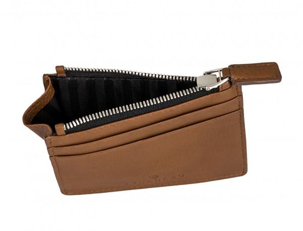 leather card holder camel inside