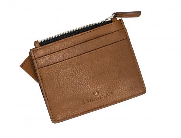 leather card holder camel side