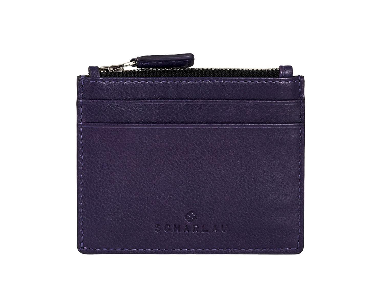 leather card holder violet front