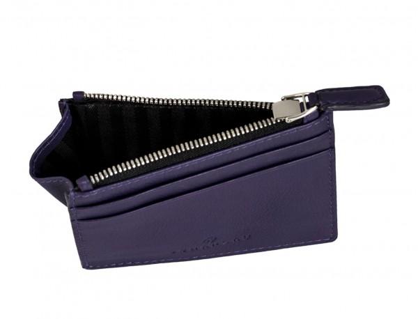leather card holder violet inside