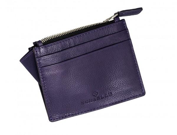 leather card holder violet side