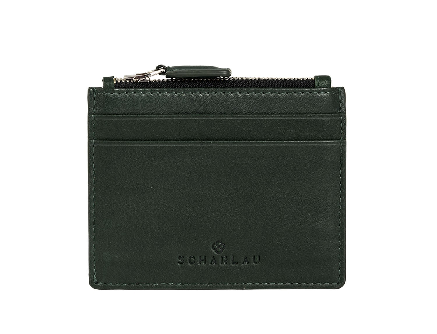 leather card holder green front