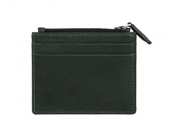 leather card holder green back