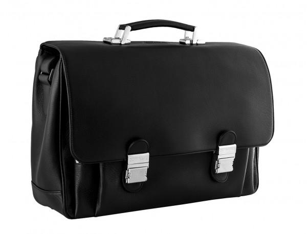 maletin con solapa negro de cuero para hombre lateral