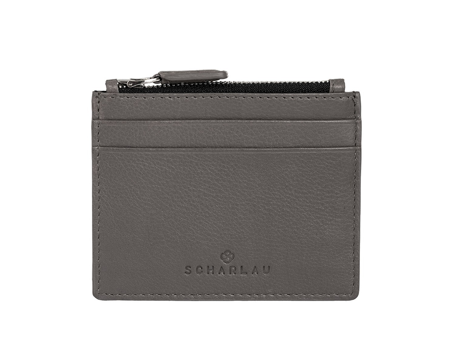 leather card holder gray front