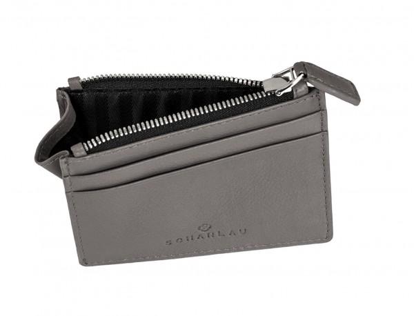 leather card holder gray inside