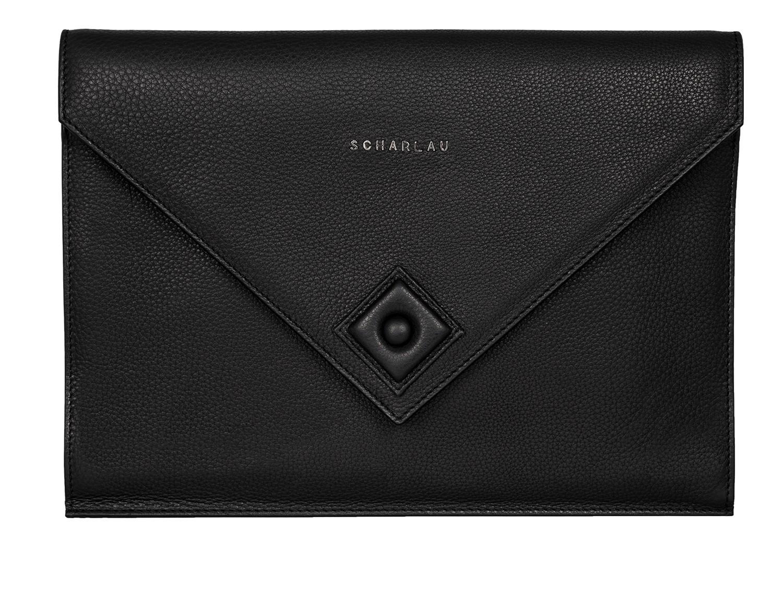 leather portfolio black front
