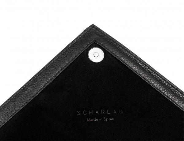 portafoglio in pelle nera detail