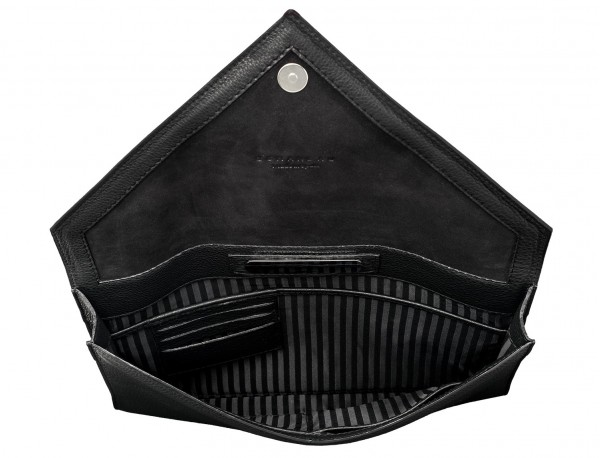 leather portfolio black open