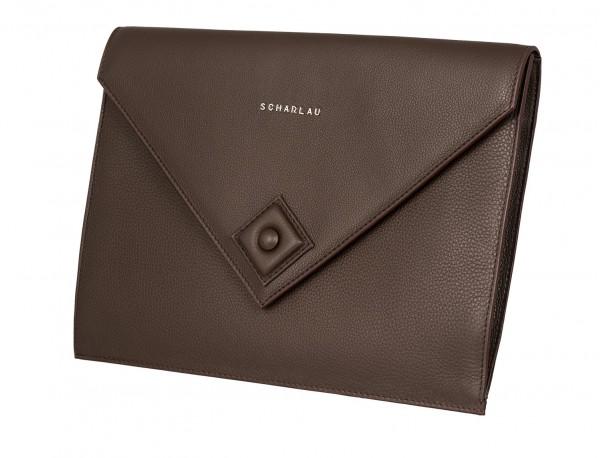 leather portfolio brown side