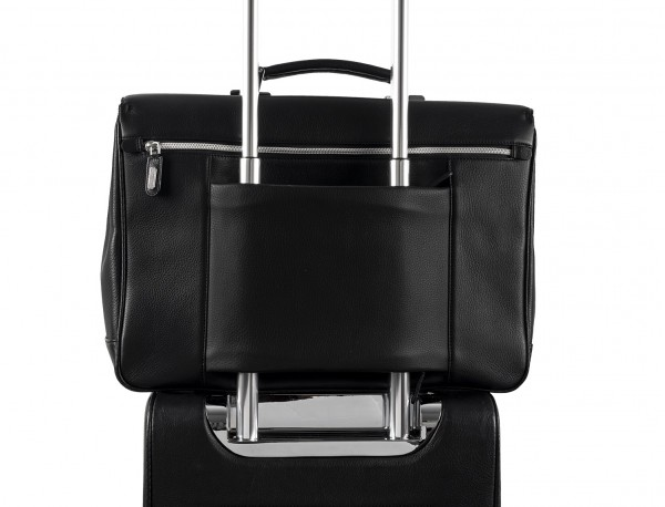 valigetta con patta in pelle nera per uomo trolley