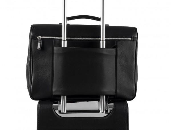 leather briefbag in black for men trolley