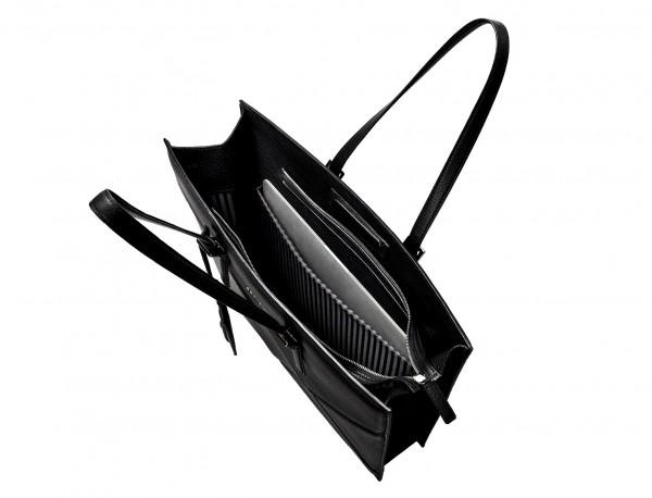 leather women's laptop bag black open