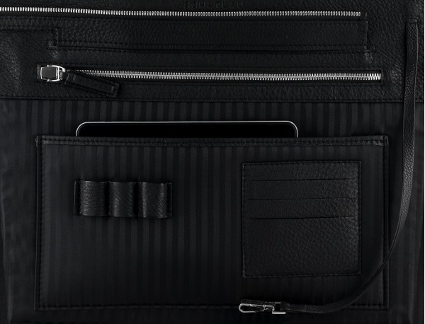 leather women's laptop bag black inside