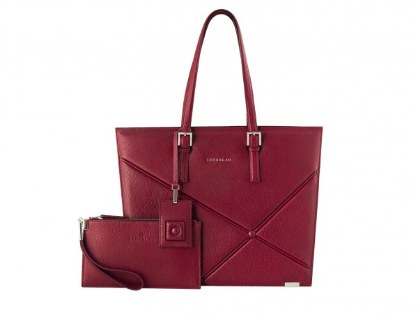 leather women's laptop bag berry front