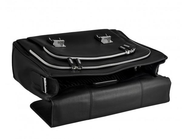 maletin con solapa negro de cuero para hombre interior