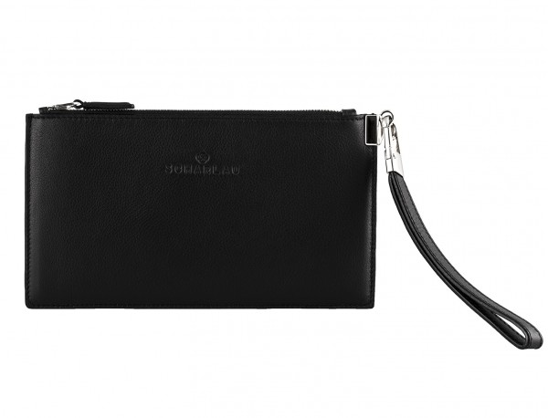 leather clutch black front