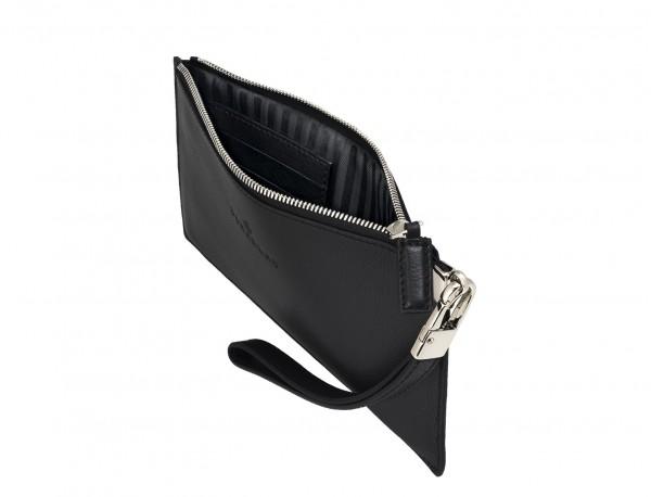 bolso de noche para mujer en cuero negro abierto