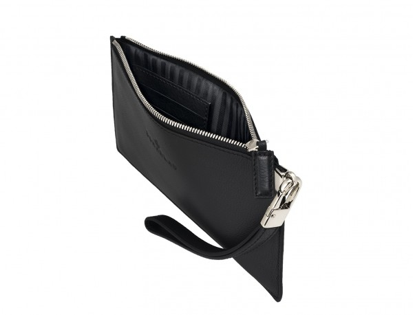leather clutch black open