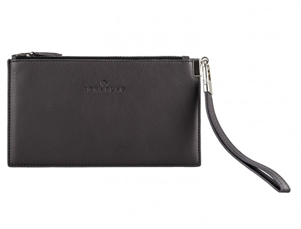 leather clutch gray front