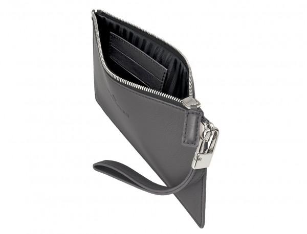 pochette in pelle grigio open